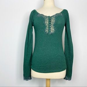 Free People To the West lace front ribbed top M
